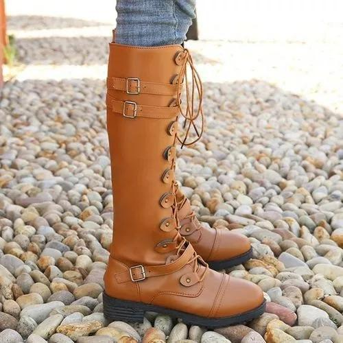 Women's Buckle Lace-up Mid-Calf Boots
