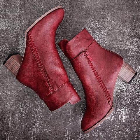 Vintage Ankle Boots Low Heel Zipper Motorcycle Boots