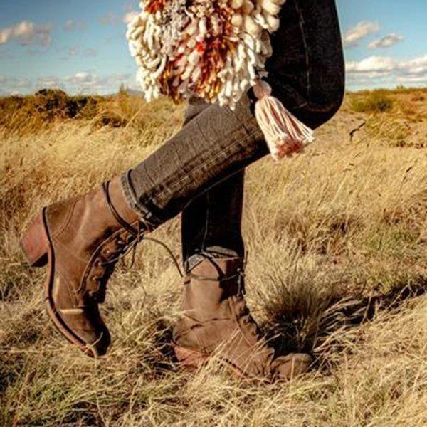 Plus Size Vintage Suede Lace Up Chunky Heel Mid Boots