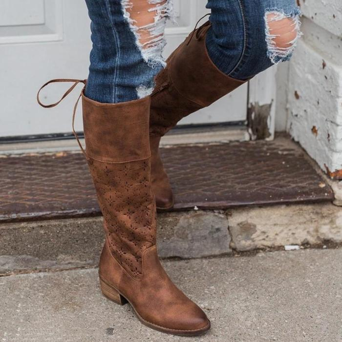 Plus Size Vintage Leather Zipper Knee Boots