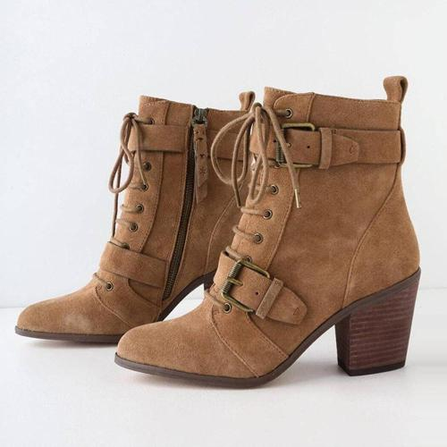 Large Size Women Comfy Suede Pointed Toe Lace Up High Heel Boots