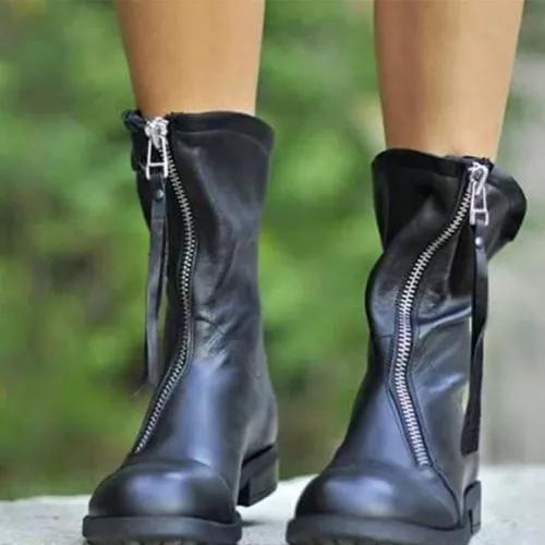 Women's Zipper Ankle Boots Low Heel Boots