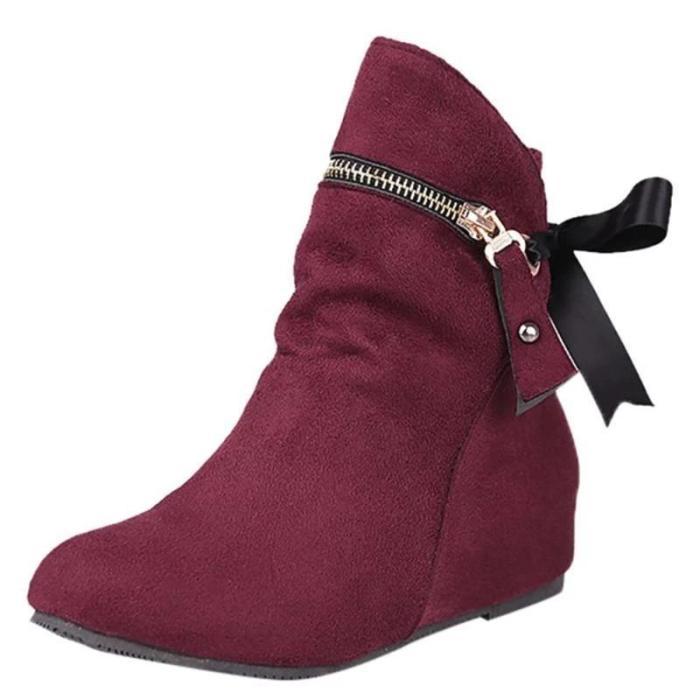 Women Wedges Winter Zipper Casual Boots