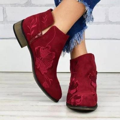Women's Flower Round Toe Low Heel Boots