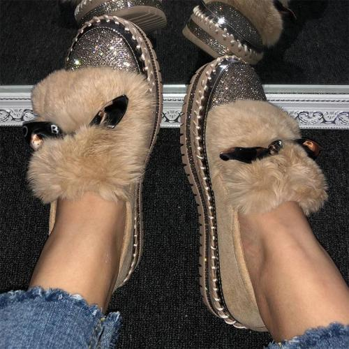 Women Adorable Faux Fur Rhinestone Boots