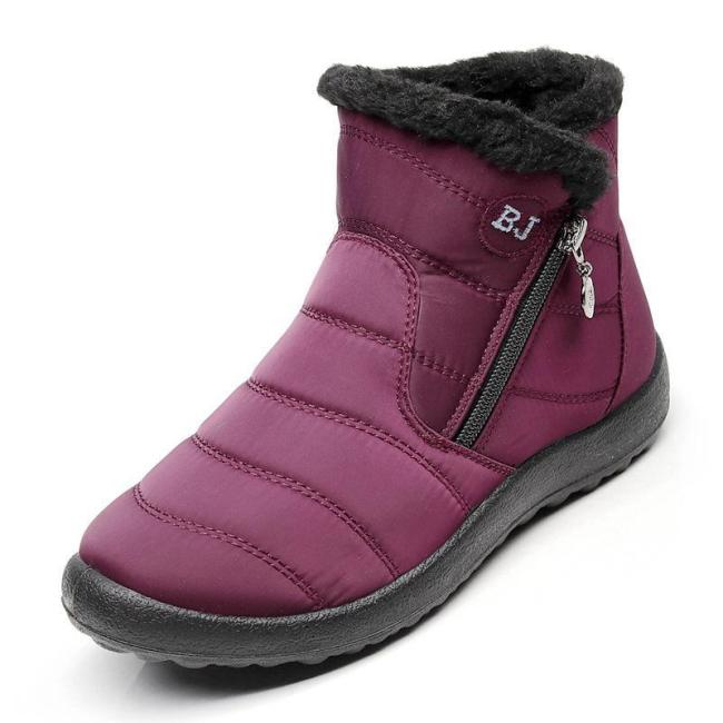 Women Side Zipper Unisex Waterproof Fur Lining Slip On Snow Boots