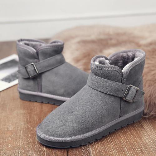 *Winter Slip-on Fur Buckle Ankle Boots