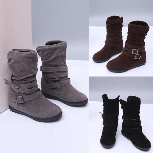 *Buckled Boots Low Heel Zipper Slip On Boots