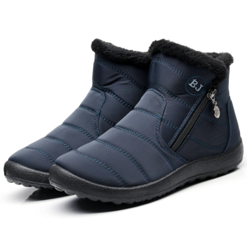 Women Side Zipper Unisex Waterproof Fur Lining Slip On Snow Boots