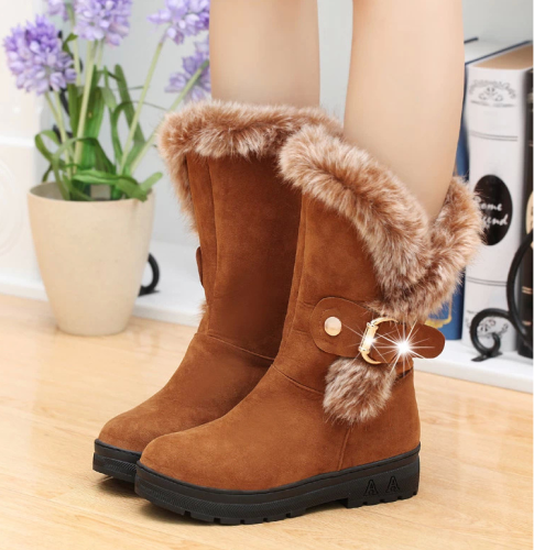 Round Toe Mid-Calf Fur Snow Boots