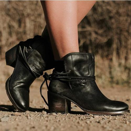 *Women Vintage Low Heel Ankle Plus Size PU Back-lace Boots