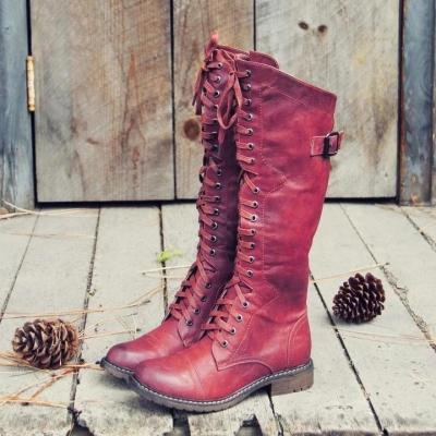 Women's Retro Leather Lace Up Casual All-Match Boots