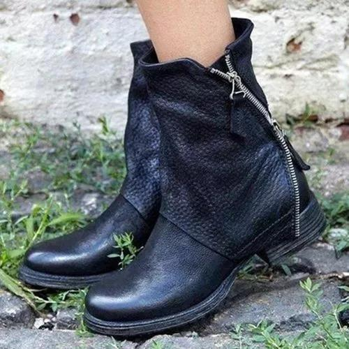 Women's Zipper Mid-Calf Boots Low Heel Boots