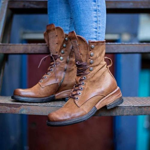 Women's Retro Leather Zipper Comfortable Boots