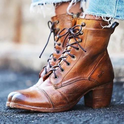Women's Zipper Mid-Calf Boots Chunky Heel Boots