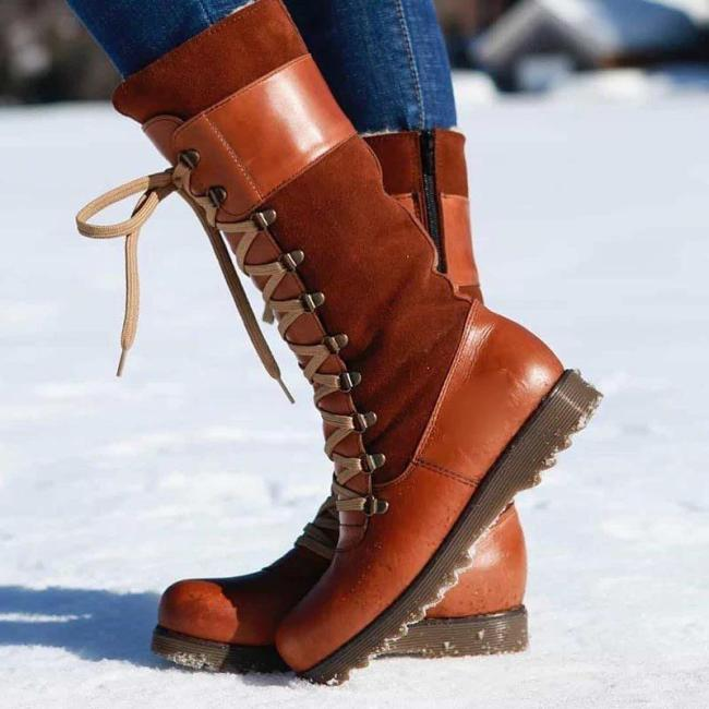 Women's Round Toe Lace-Up Zip Snow Boots