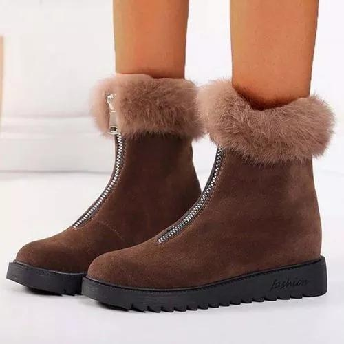 Women's Zipper Mid-Calf Boots Nubuck Wedge Heel Boots
