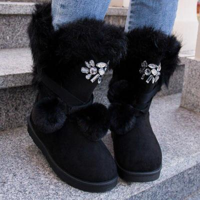 Women's Comfy Rhinestone Detailing Suede Fluffy Snow Boots