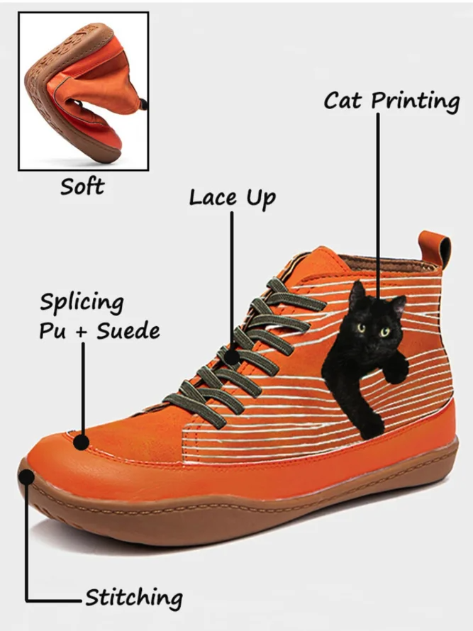 Cat pattern Daily Spring Leather Flat Heel Boots