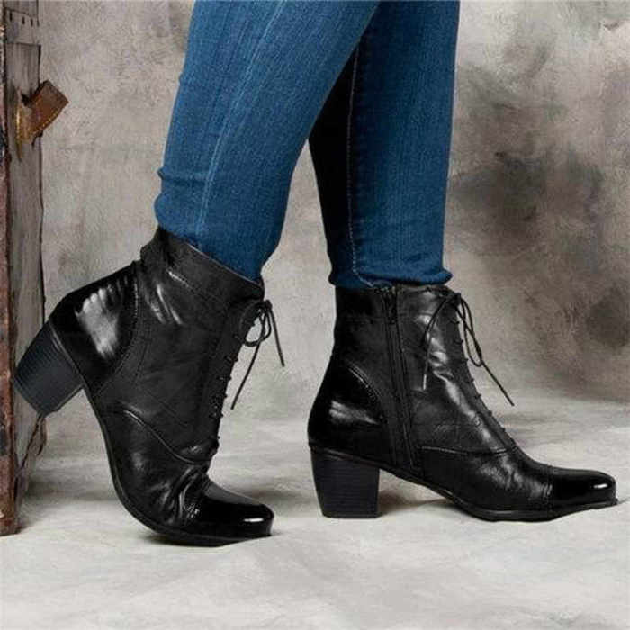 Chunky Heel Color Block Boots