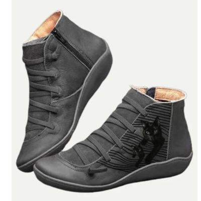 NEW! Women's  Cat Pattern Casual Leather Boot