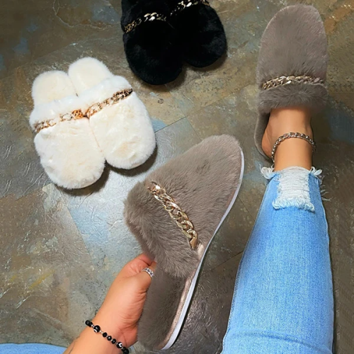 Plush Chain Cute Home Slippers