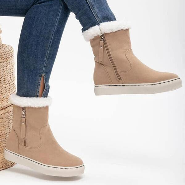 NEW! Women's PU Flat Heel Snow Boots Round Toe With Zipper shoes