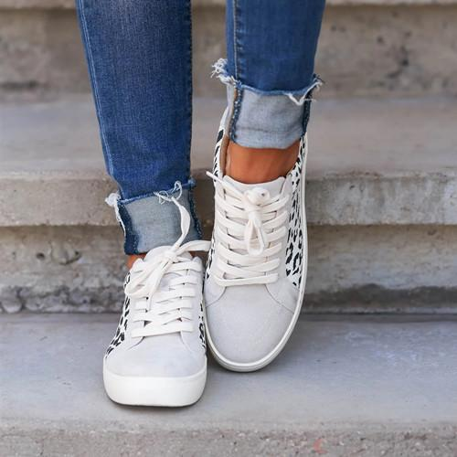 Leopard Lace Up Round Toe Flat Sneakers
