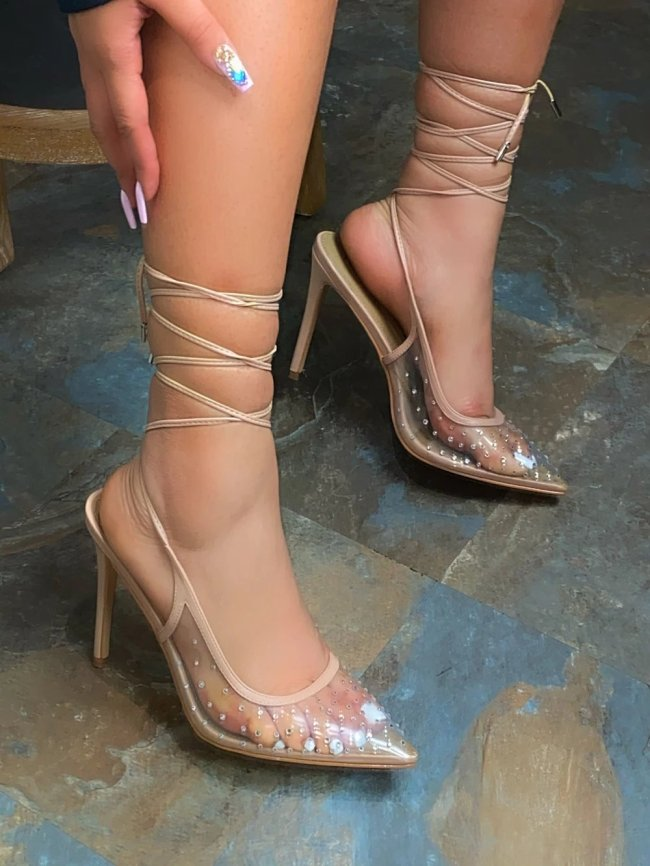 Ladies Close Pointed Toe Heel Sandals