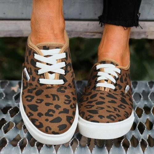 Women Animal Printed Canvas Lace Up Flat Heel Sneakers