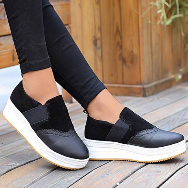 Women Bullock Suede Elastic Band Split Joint Slip On Platform Loafers