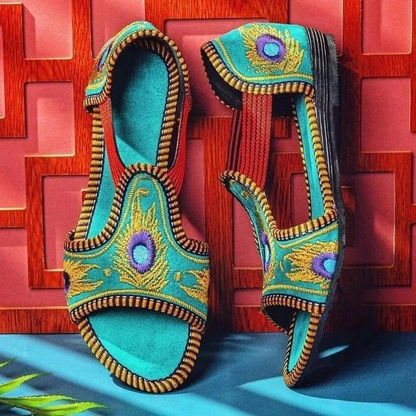 Women Ethnic Embroidery Elastic Band Flat Sandals