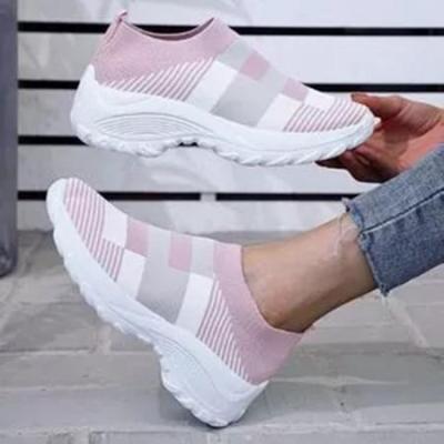 Women's Round Toe Fabric Flat Heel Sneakers