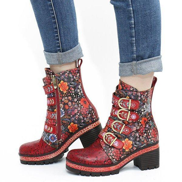 Floral Pattern Metal Buckle Chunky Heel Short Boots