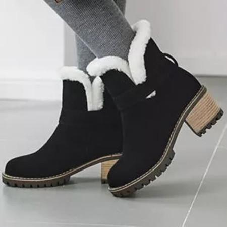 Women's Fur Ankle Boots Round Toe Heels Nubuck Chunky Heel Boots