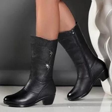 Women's Zipper Ankle Boots Round Toe Heels Chunky Heel Boots