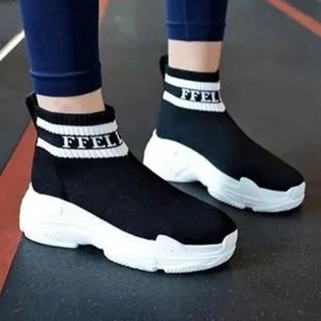 Women's Round Toe High Top Fabric Low Heel Sneakers