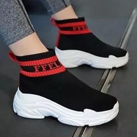 Women's Round Toe High Top Fabric Low Heel Sneakers
