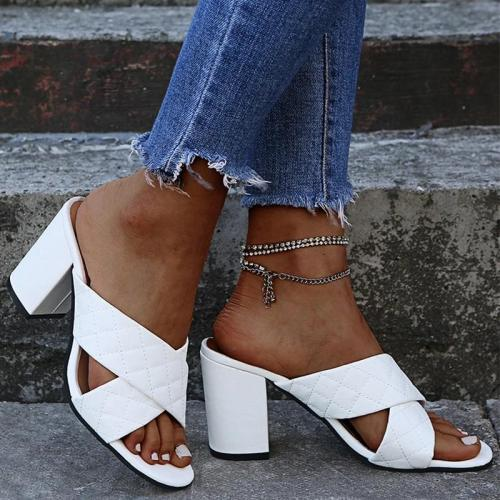 Women Elegant Simple Pu Cross-strap Chunky Heel Slippers