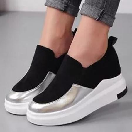 Women's Elastic Band Closed Toe Wedge Heel Sneakers