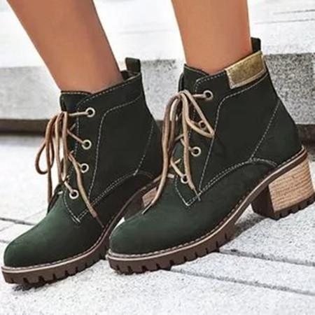 Women's Lace-up Ankle Boots Round Toe Heels Leatherette Chunky Heel Boots