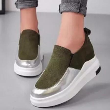 Women's Elastic Band Closed Toe Wedge Heel Sneakers