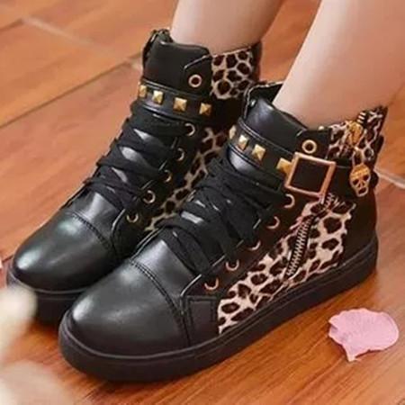 Women's Zipper Lace-up Closed Toe Flat Heel Sneakers