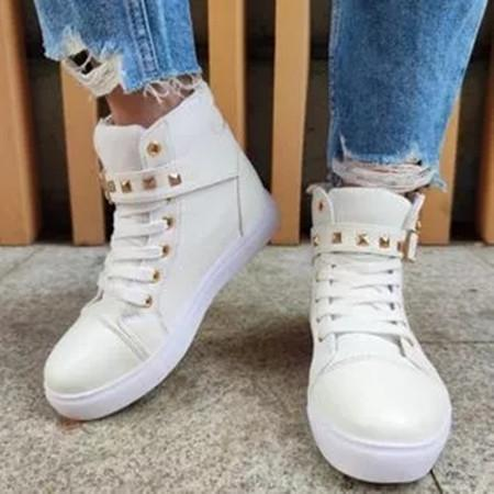 Women's Zipper Lace-up Closed Toe Flat Heel Sneakers
