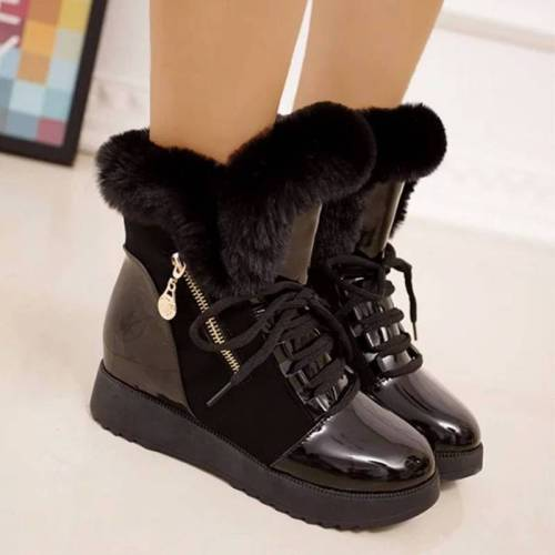 Women's Cozy Hit Colors Zipper Lace Up Hidden Wedge Heel Cotton Boots