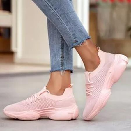 Women's Lace-up Round Toe Fabric Flat Heel Sneakers