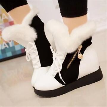 Women's Cozy Hit Colors Zipper Lace Up Hidden Wedge Heel Cotton Boots