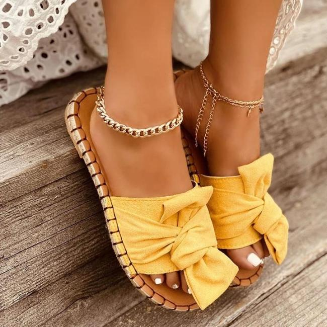 Ladies Casual Bow Open-toed Flat Slippers