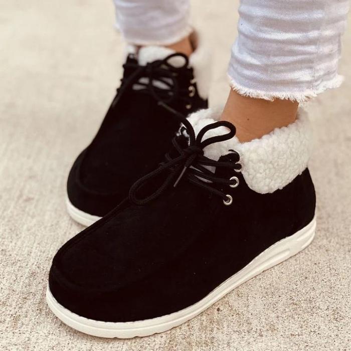 Ladies Winter Flat Plush Casual Shoes