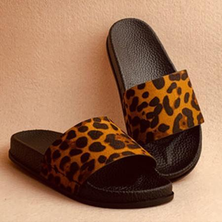 Leopard Flat Heel Sandals